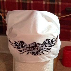Harley Davidson headwear.